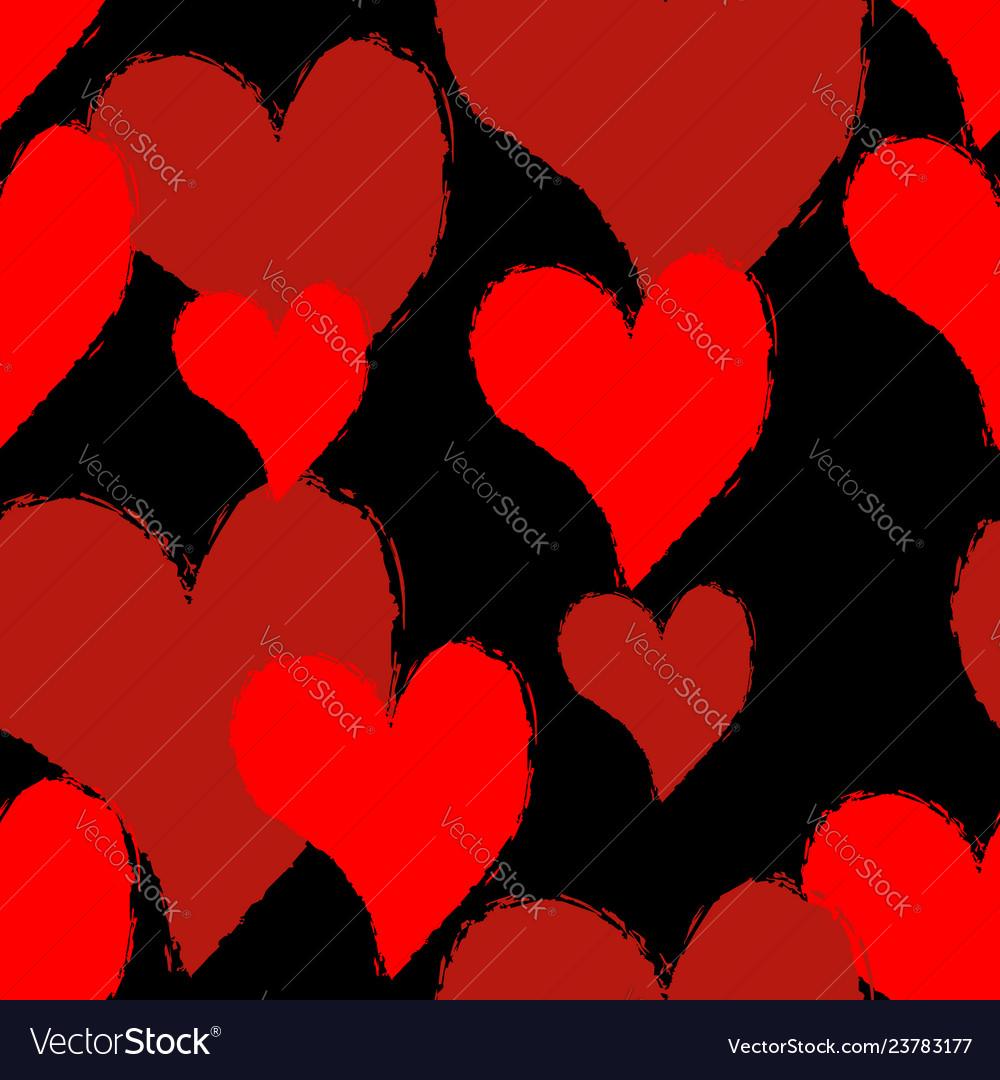 Heart grunge style seamless pattern symbol of
