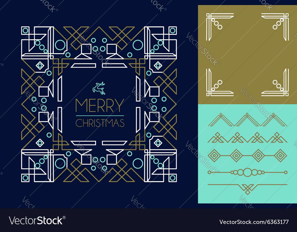 Merry christmas mono line set ornament frame deco