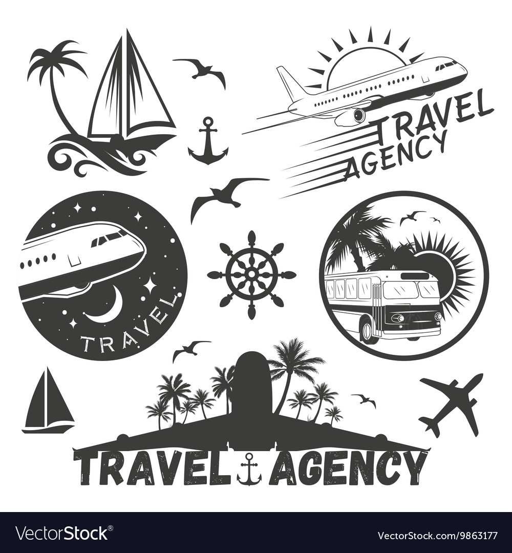 Set of travel and transportation labels in vector image on VectorStock