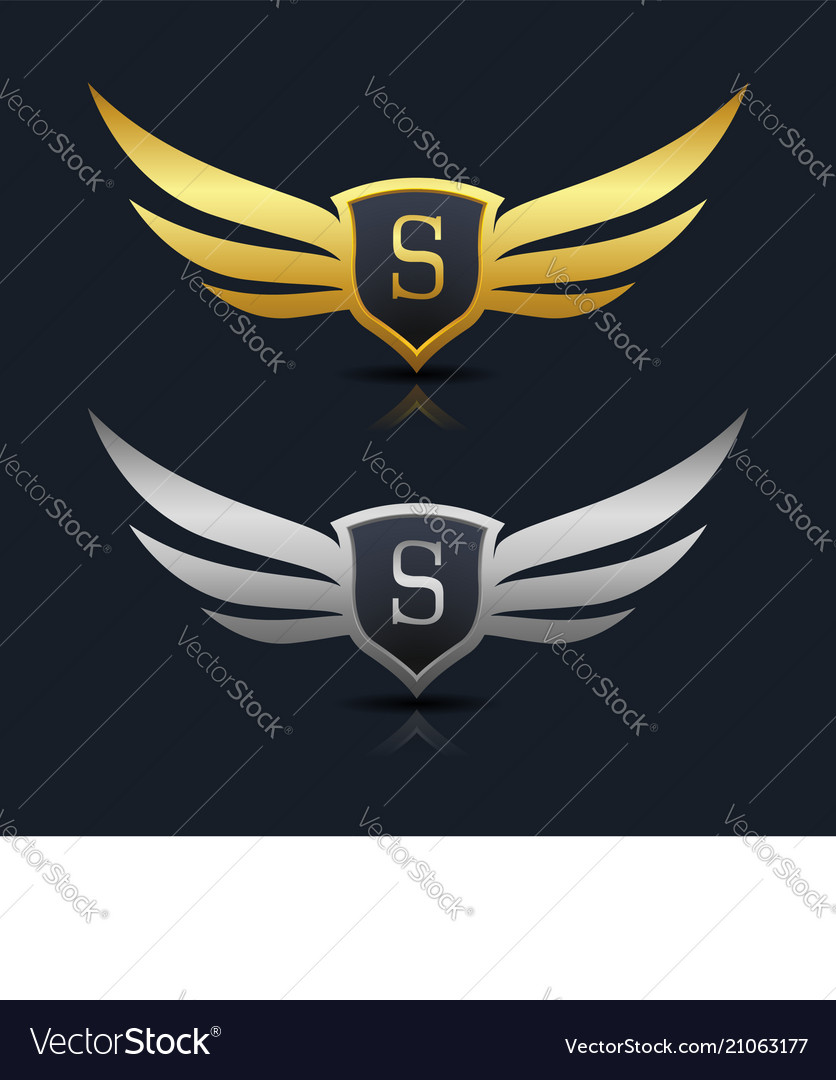 Wings Shield Letter S Logo Template Royalty Free Vector