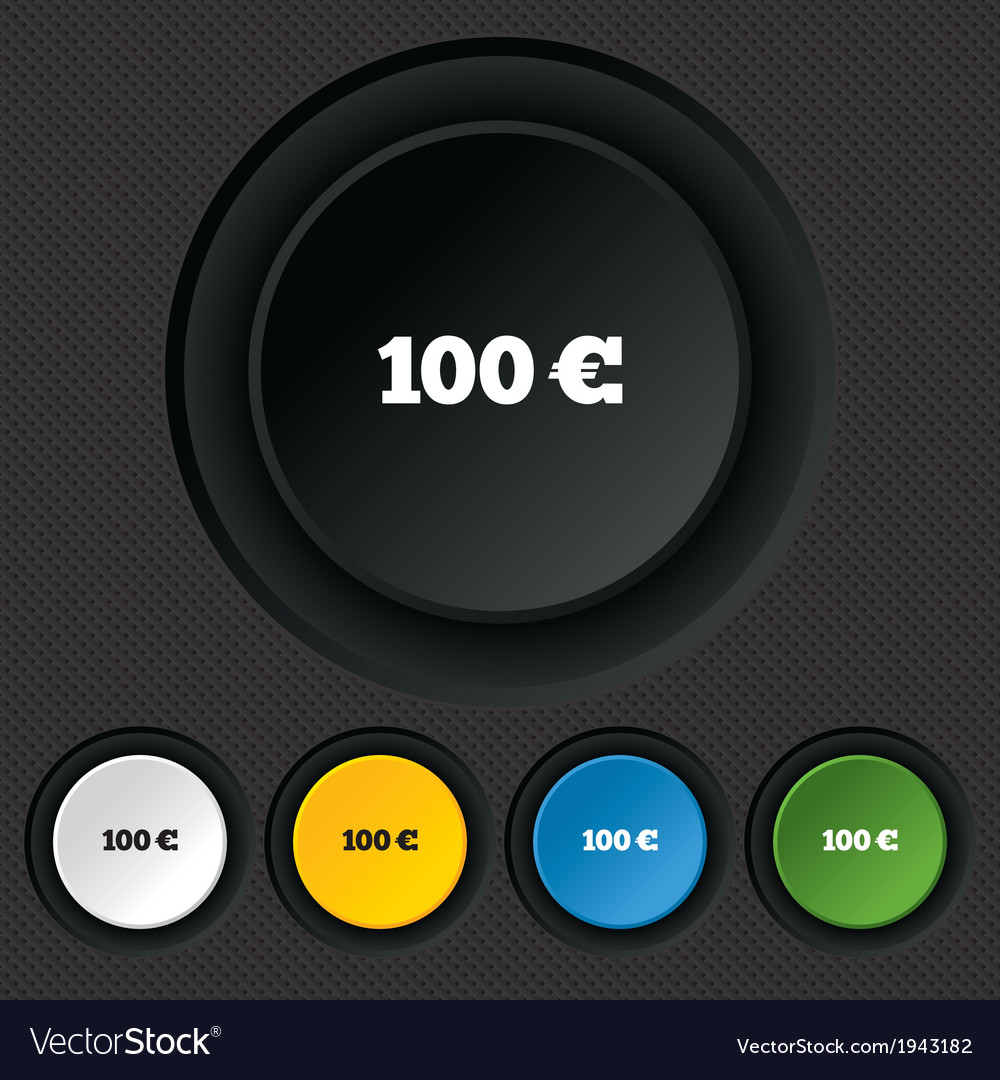 100 Euro sign icon EUR currency symbol