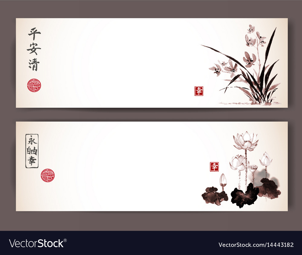 Banners with wild orchid and lotus flowers in vector image