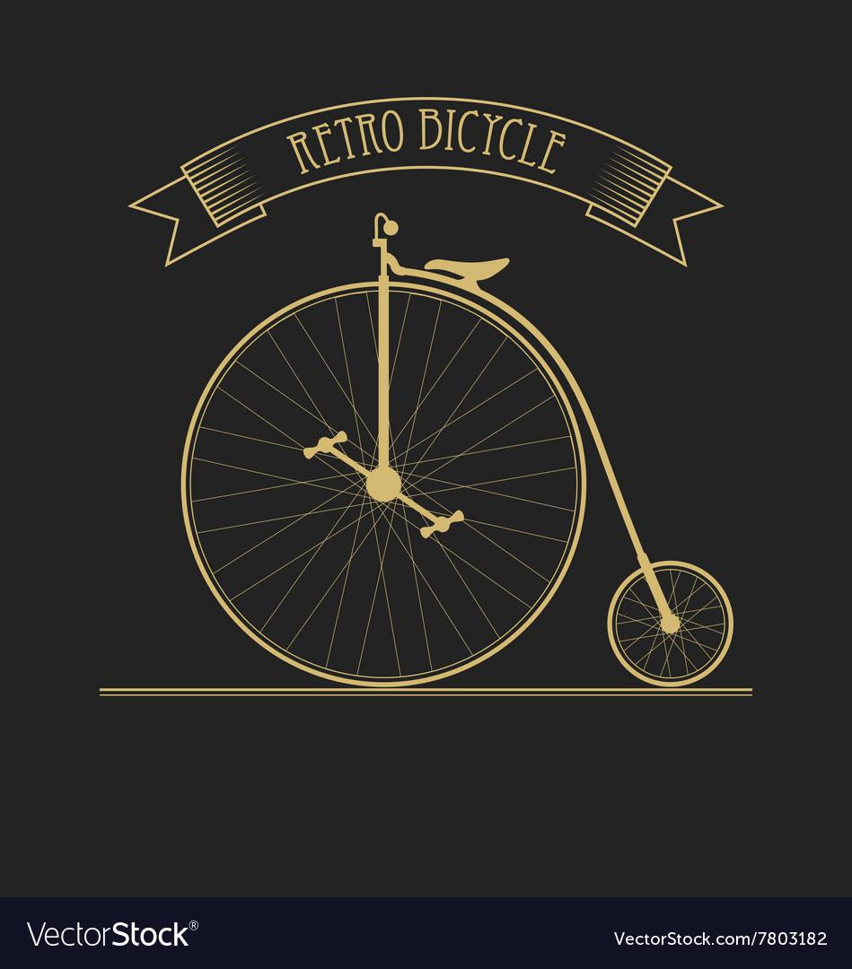 Black gold of old vintage bicycle vector image