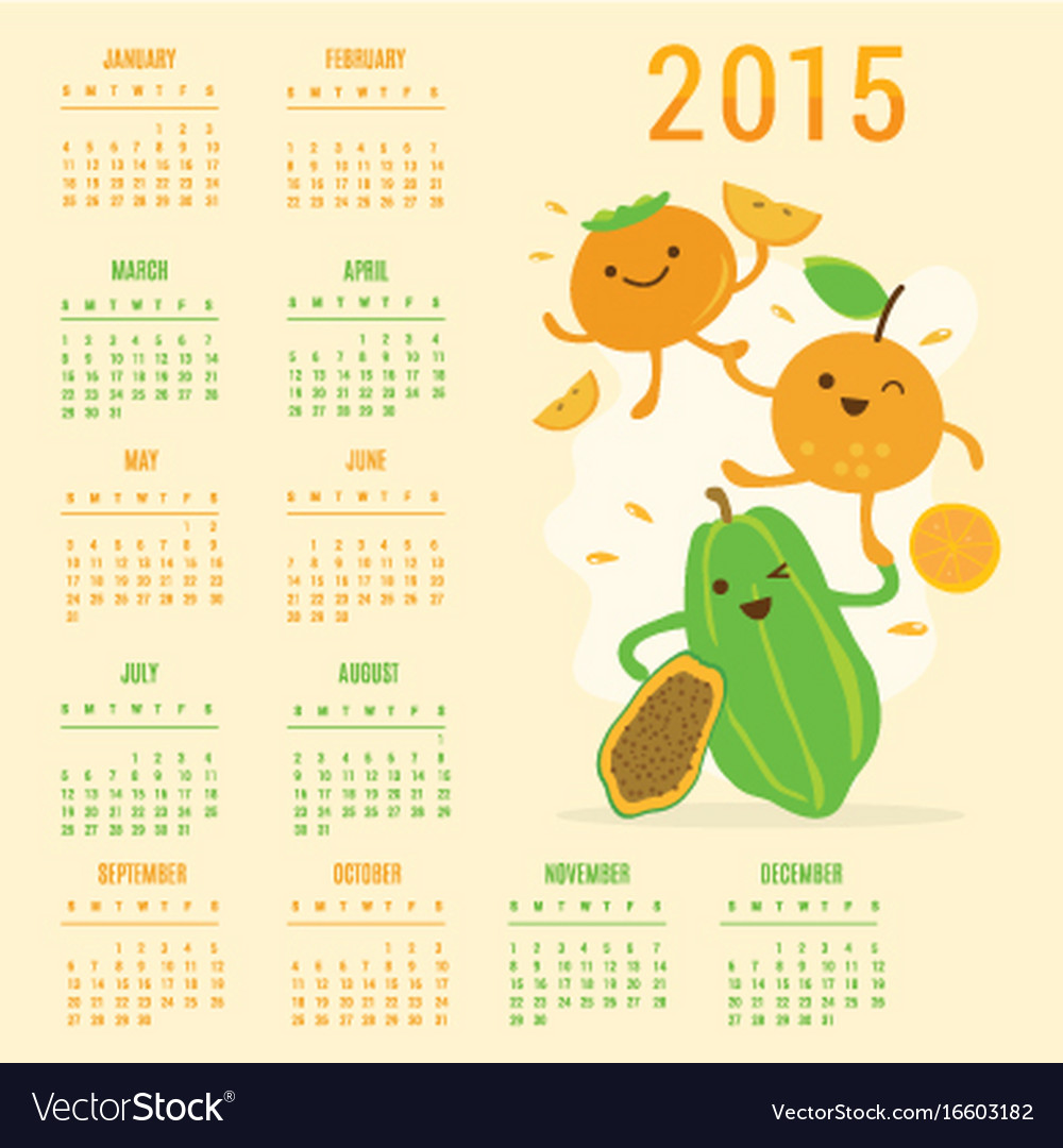 Calendar 2015 fruit cute cartoon papaya orange per