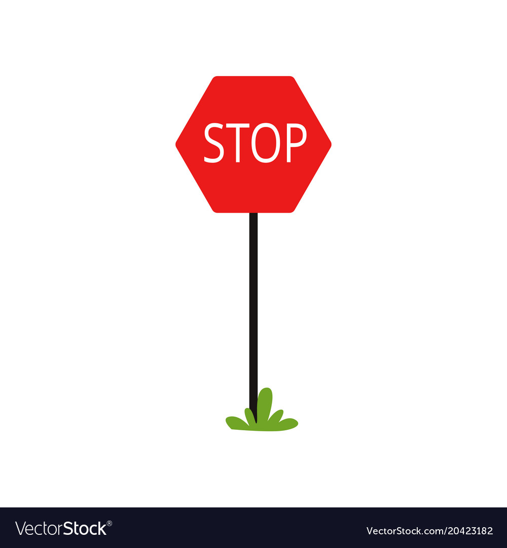 cartoon icon of red traffic sign with word stop vector image rh vectorstock com stop sign cartoon image animated stop sign cartoon