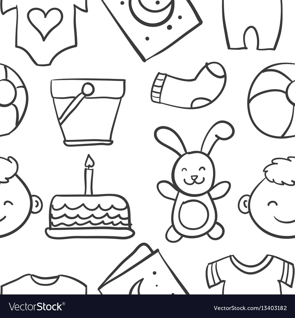 Collection stock of baby theme doodles vector image