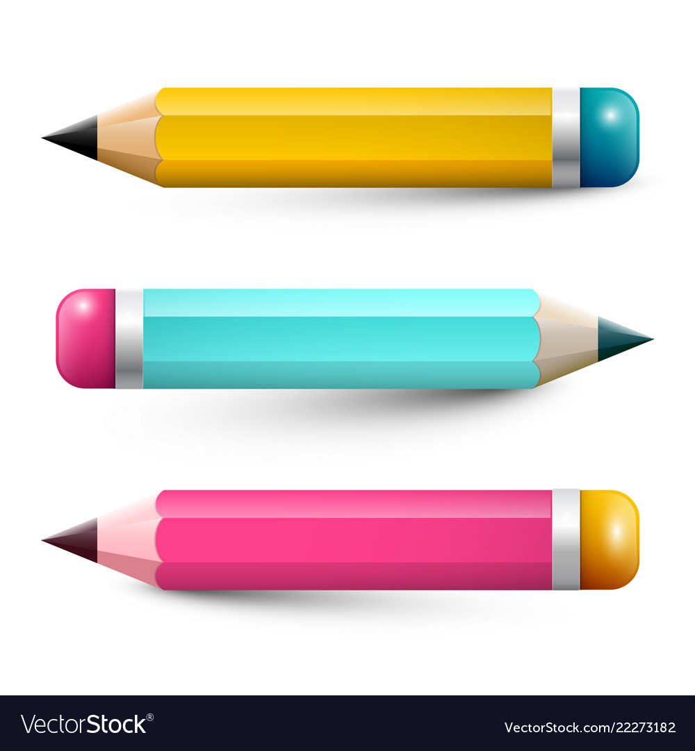 Colorful pencils pencil symbols set isolated on