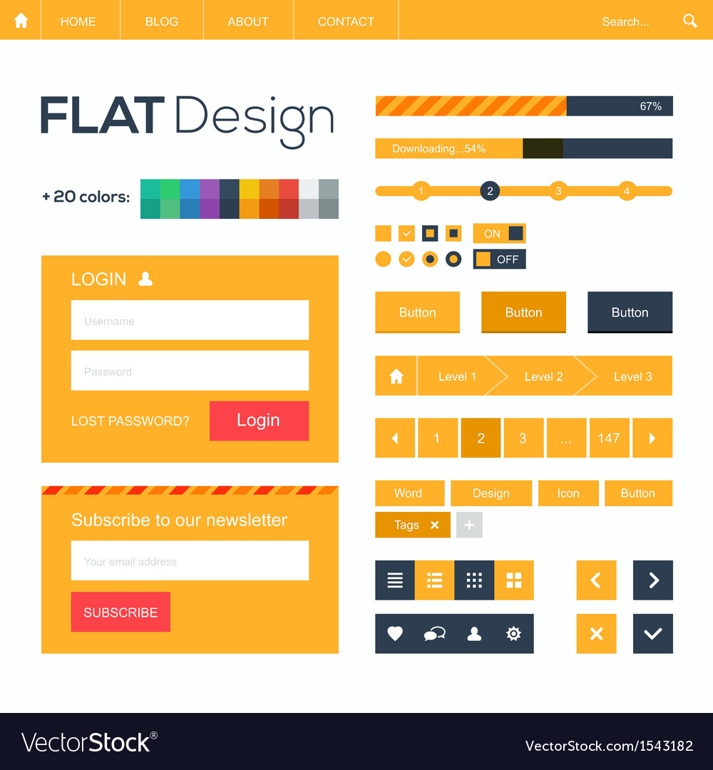 Flat web and mobile design elements buttons icons vector image