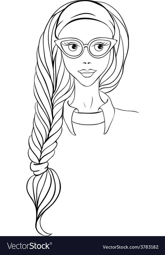 Girl in glasses and with long braid