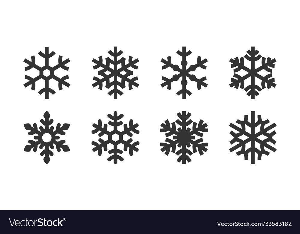 Icon set snowflake variety image vector