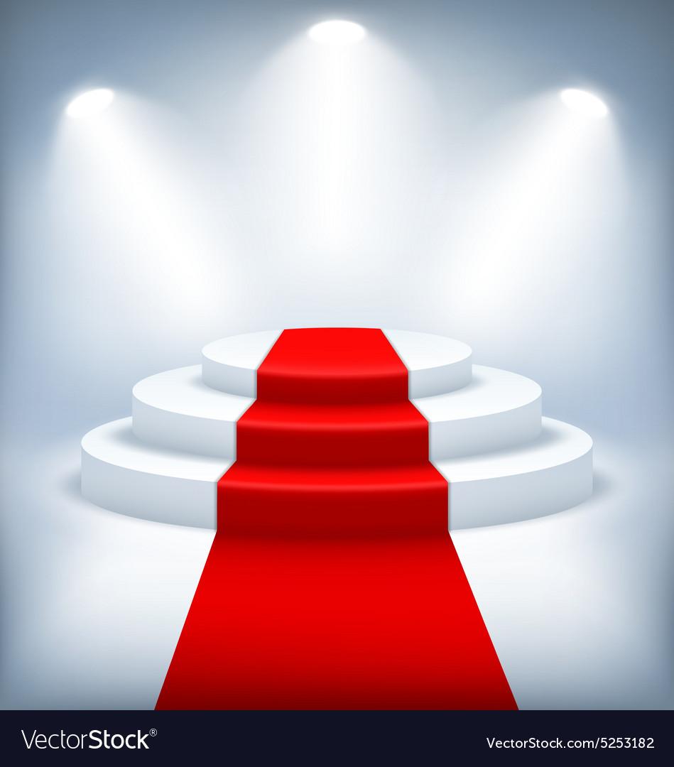 Illuminated Festive Stage Podium on White