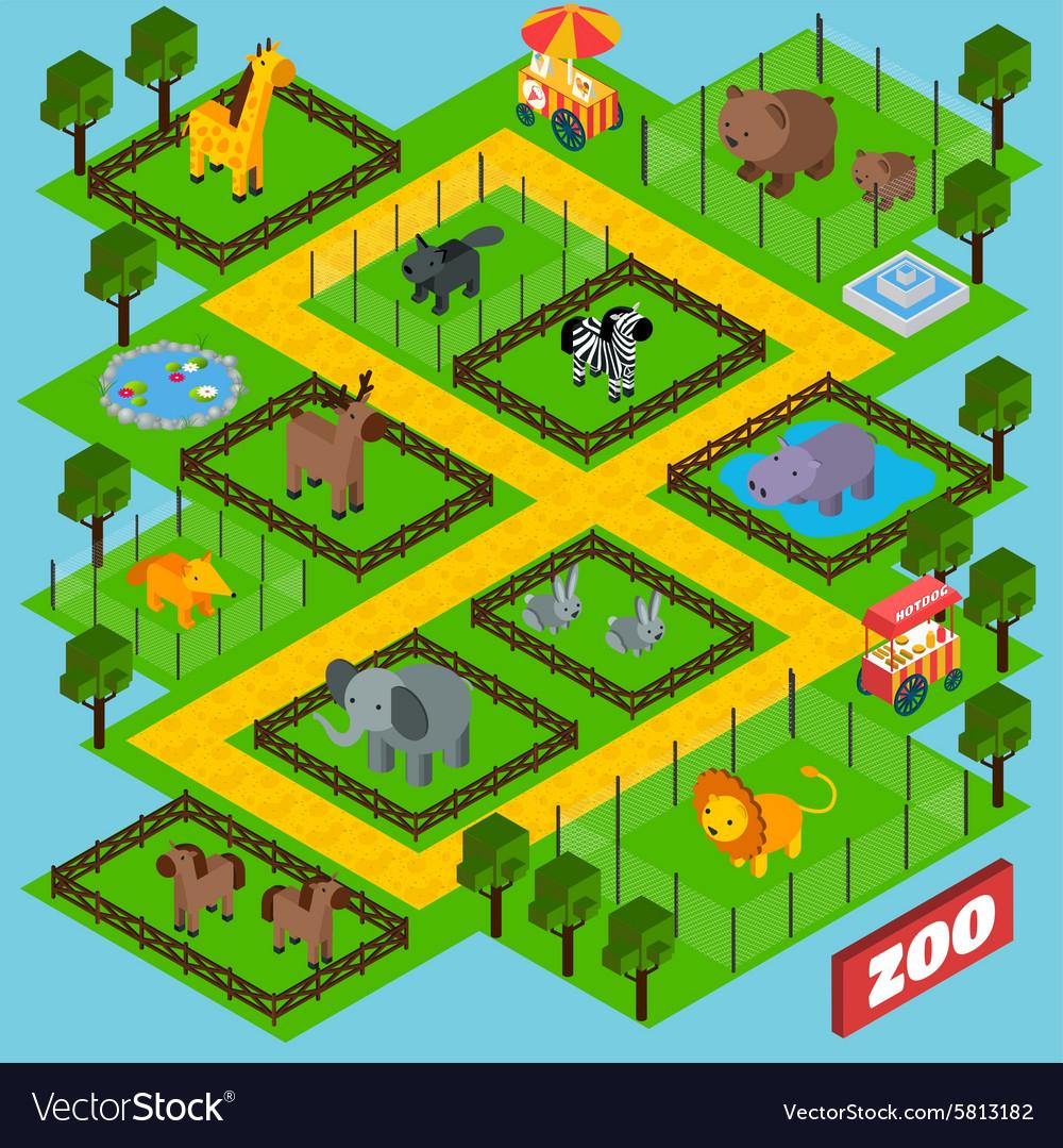 Isometric Zoo Park vector image