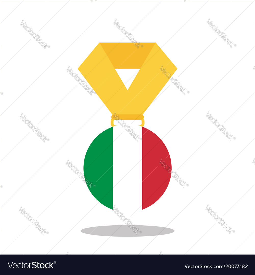 Medal with the italy flag isolated on white