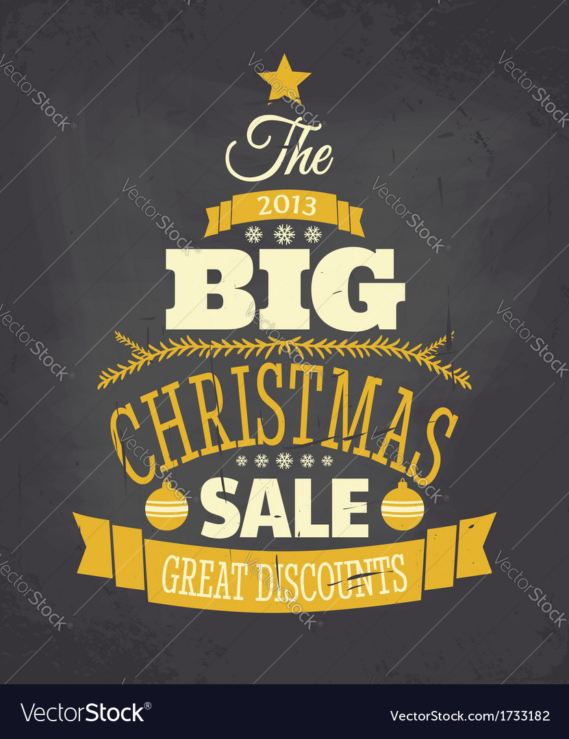 Retro Chalkboard Style Christmas Sale Poster
