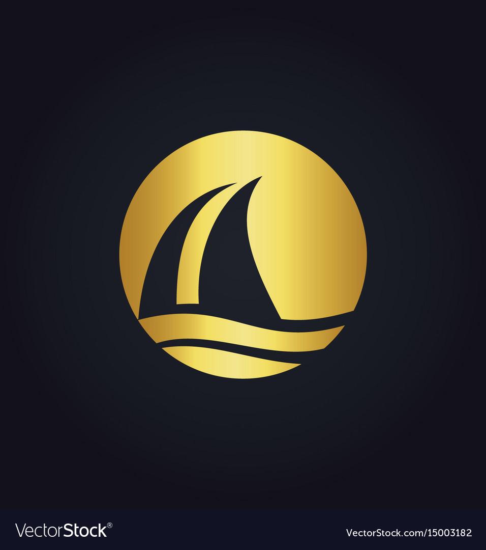 Sail boat water beach travel gold logo