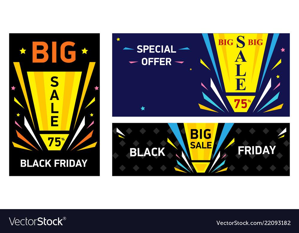 Set banners black friday big sale