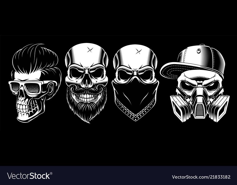 Set vintage skulls 2