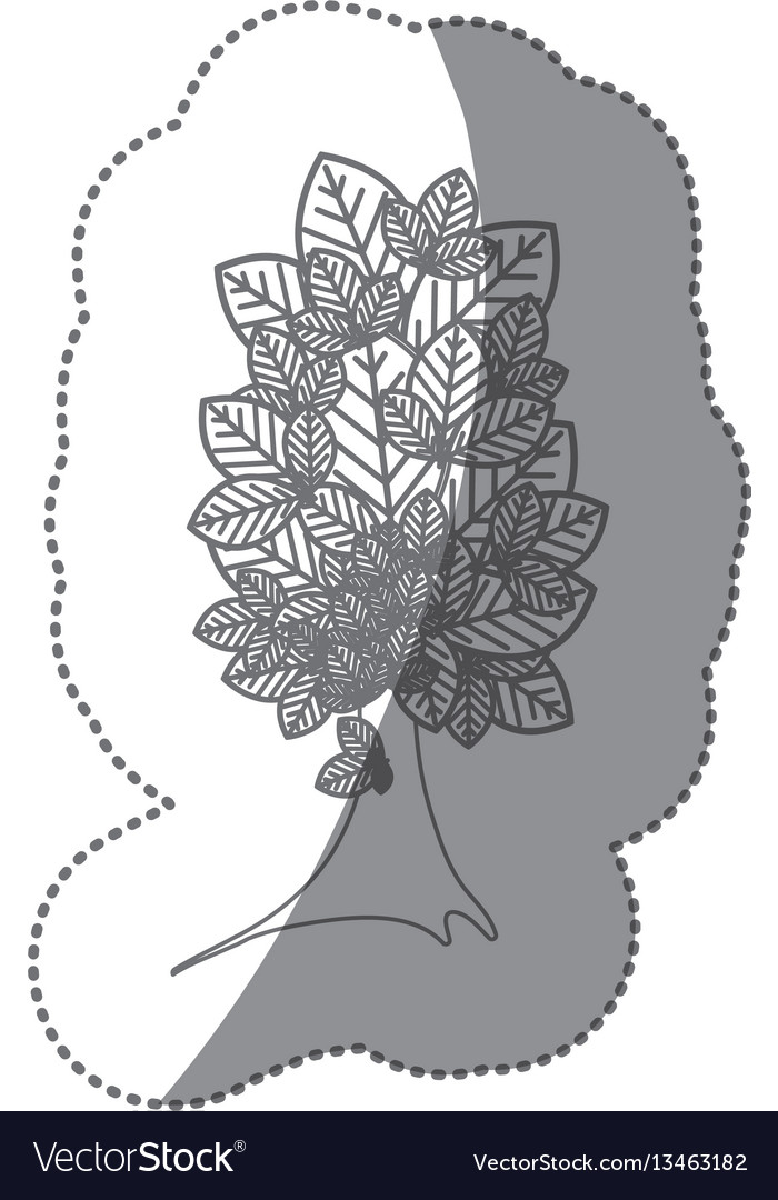 Silhouette beautiful tree icon vector image