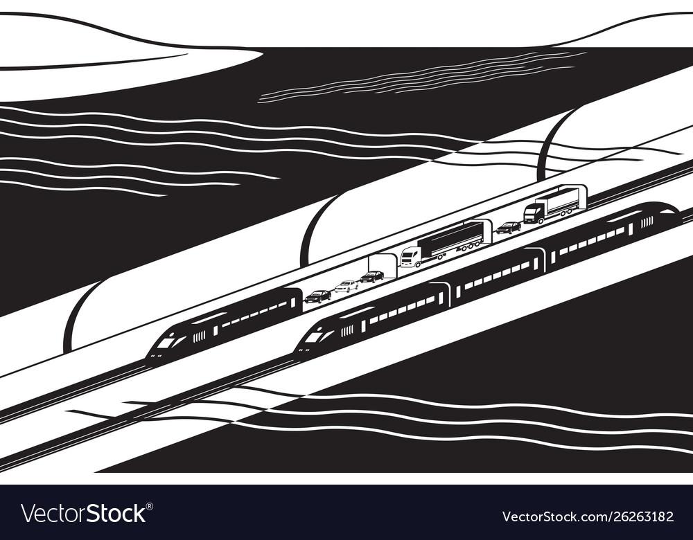 Underwater railway tunnel with freight and passen