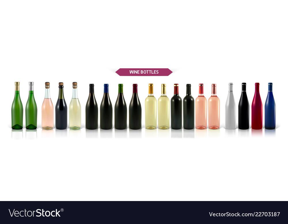 A large set of photo-realistic wine bottles