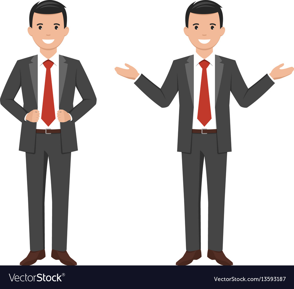 A young cartoon style smiling businessman