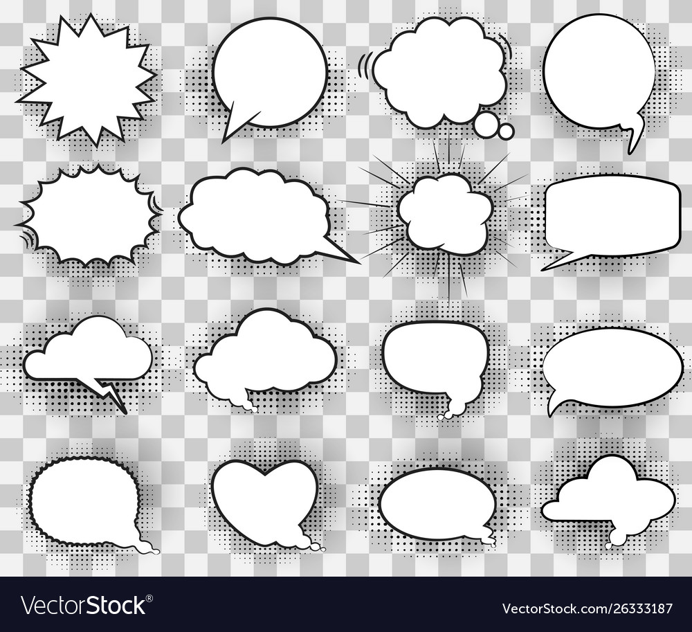 Cartoon white comic bubbles
