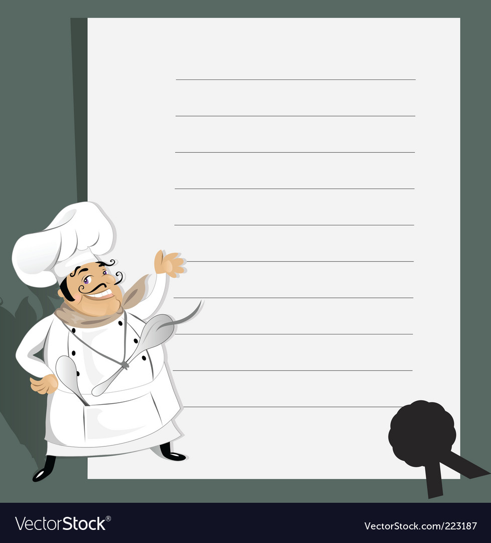 Chef with menu and recipe