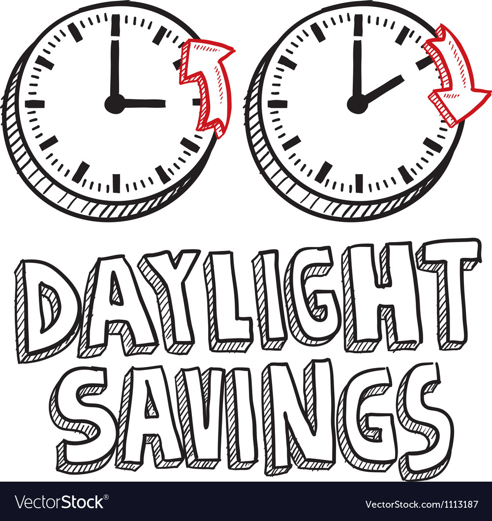 Doodle holiday daylight savings vector image