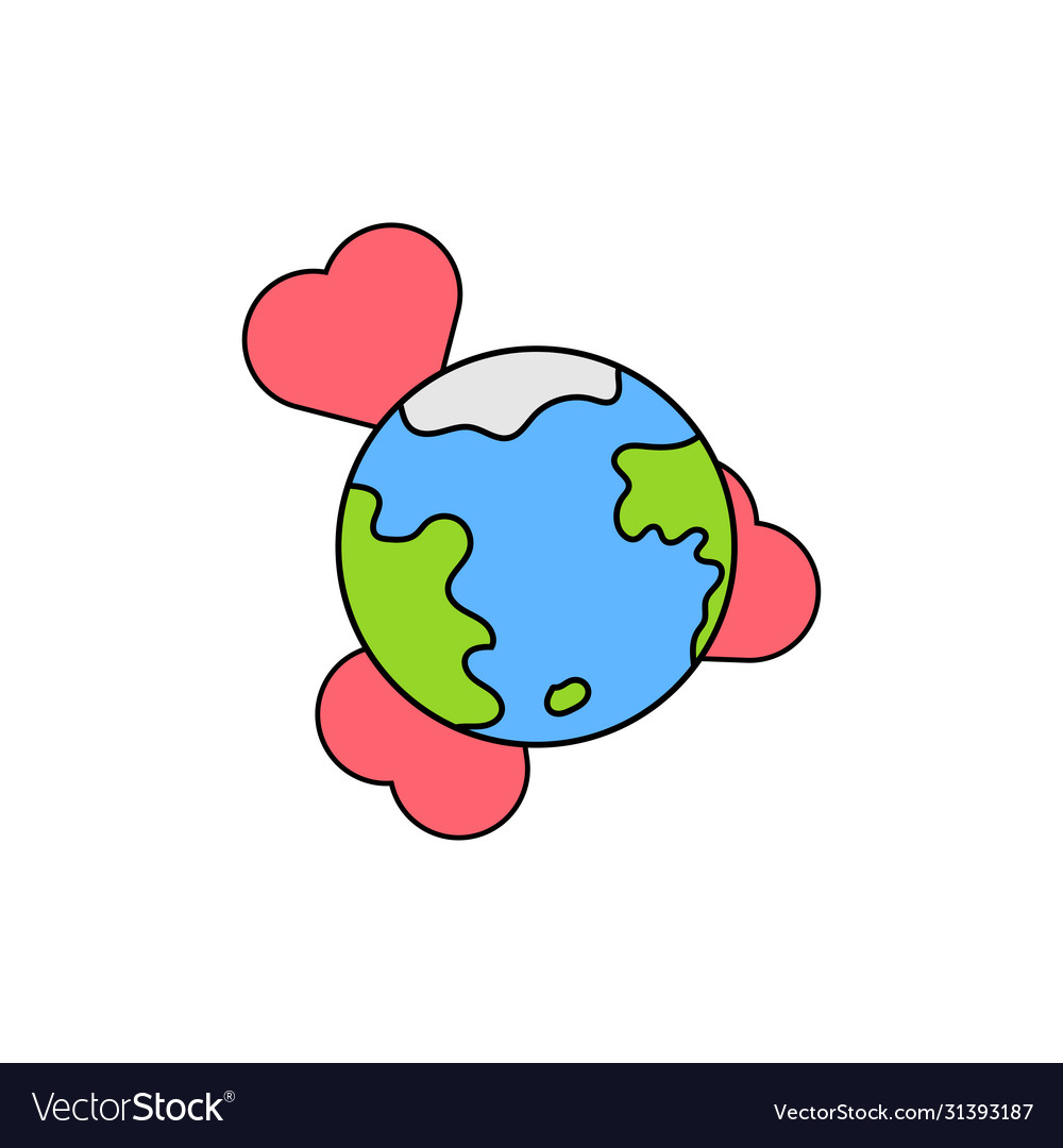 Globe with heart icon symbol love and peace