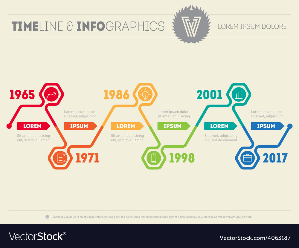 Horizontal Infographic Timelines Web Template For Vector Image