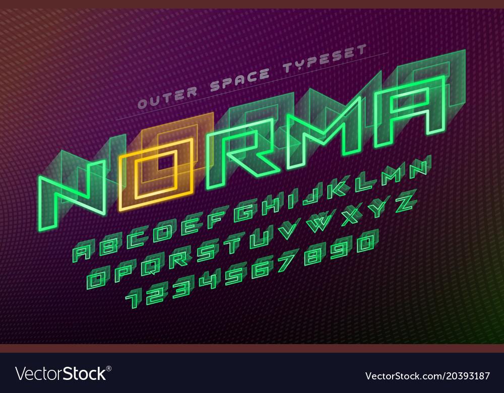Norma futuristic decorative font design vector image on VectorStock