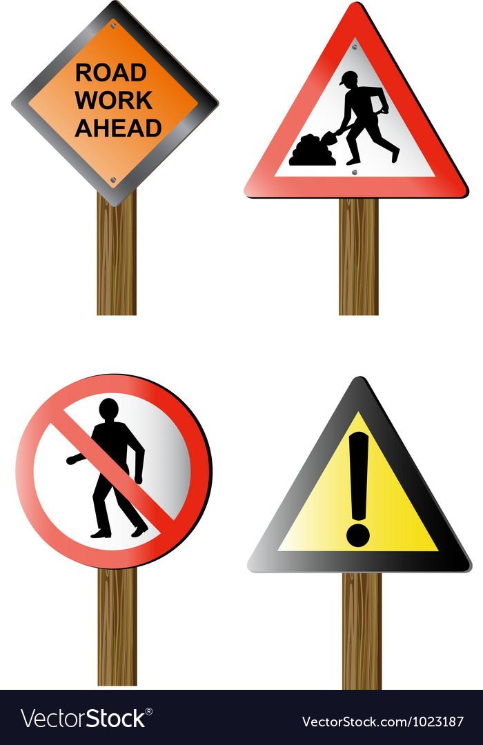 Road Signs And Symbols Royalty Free Vector Image