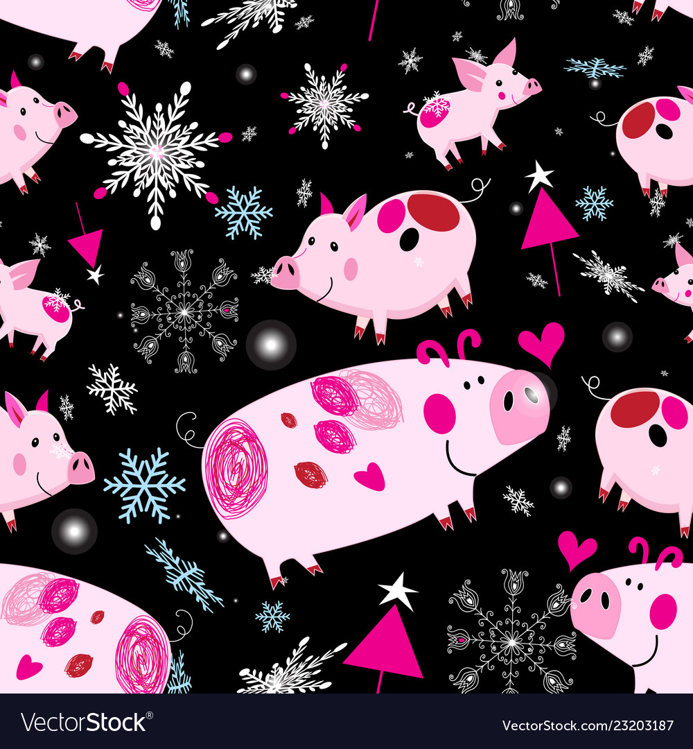 Seamless festive christmas pattern with pink