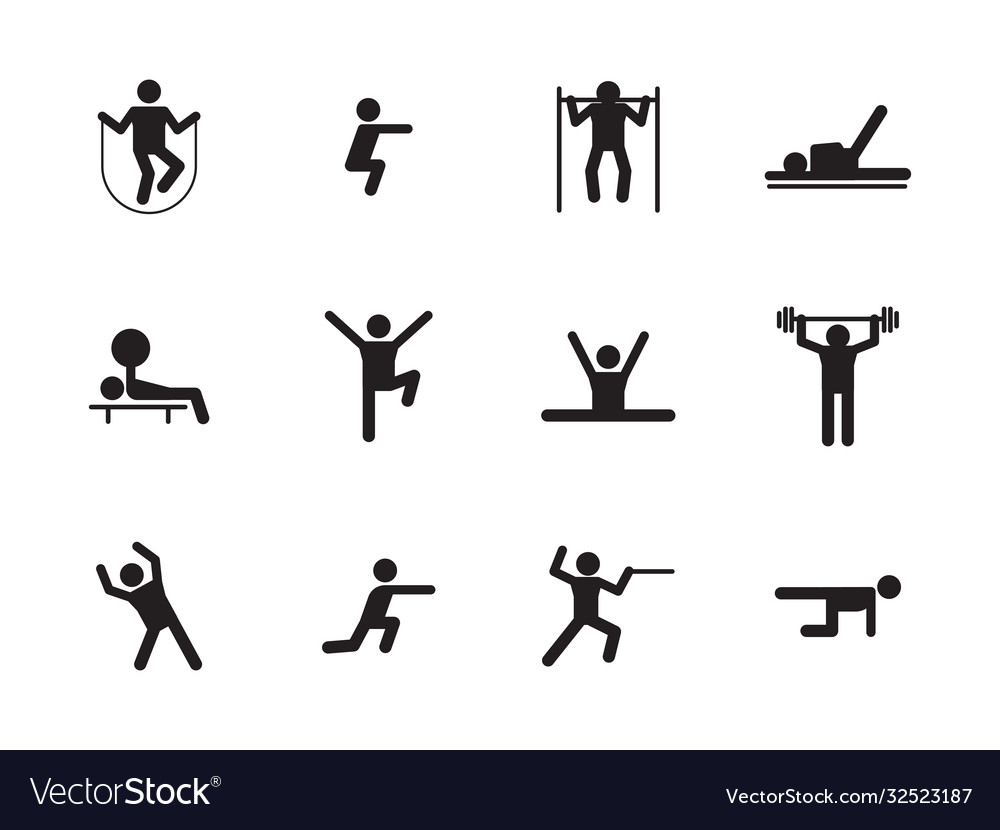 Sports workout icons silhouette set fitness