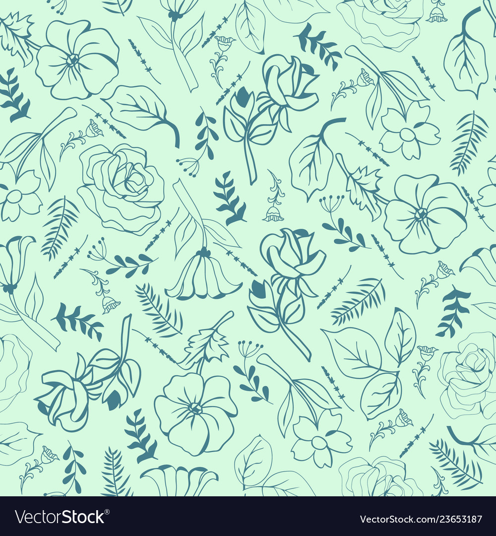 Wild botanical motifs seamless texture
