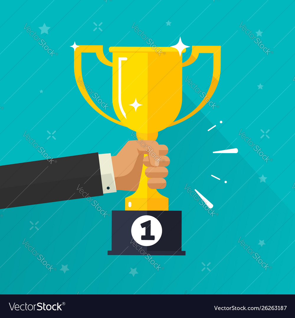 Winner success golden cup in hand