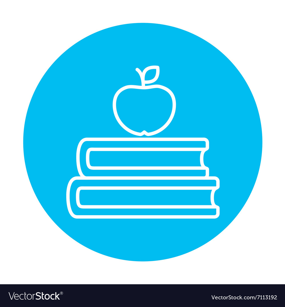 Books and apple on top line icon
