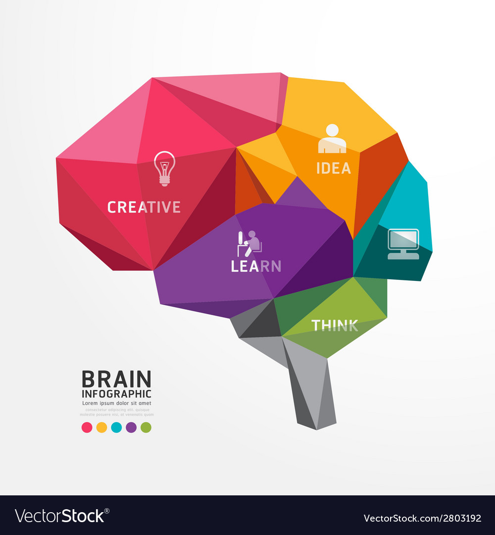 Brain Design Conceptual Polygon Style