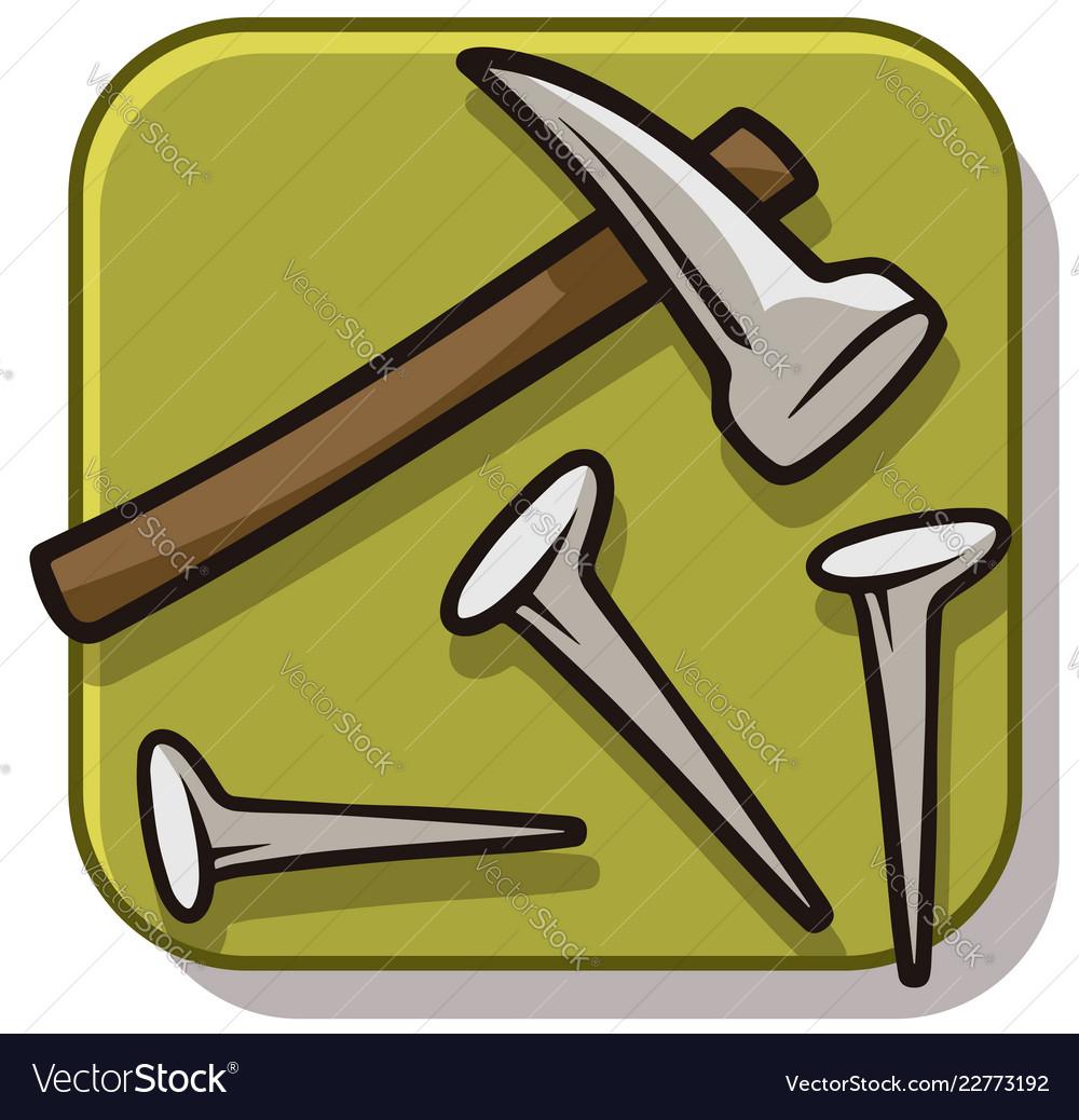 Cartoon hammer with straight nails icon
