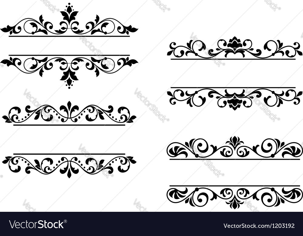 floral headers and borders royalty free vector image rh vectorstock com borders vector free download borders vector png