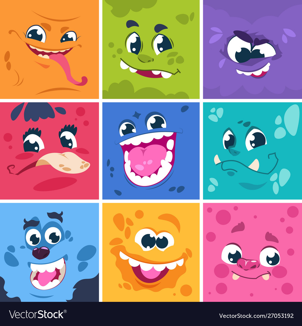 Monsters faces cute cartoon characters with