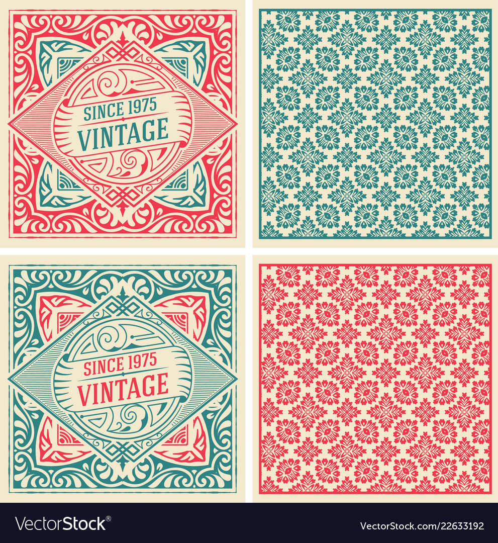 Set of 2 vintage cards with floral wallpaper