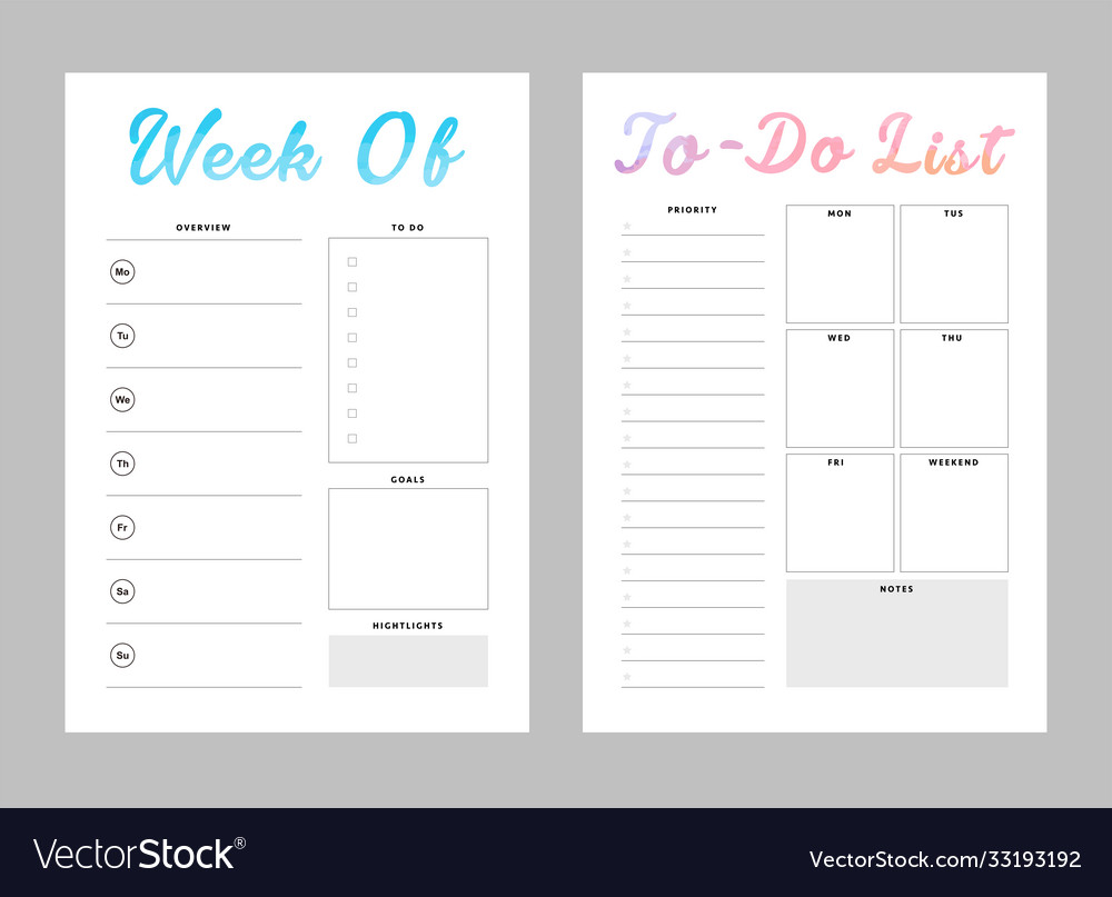 Weekly planner and to do list template Royalty Free Vector
