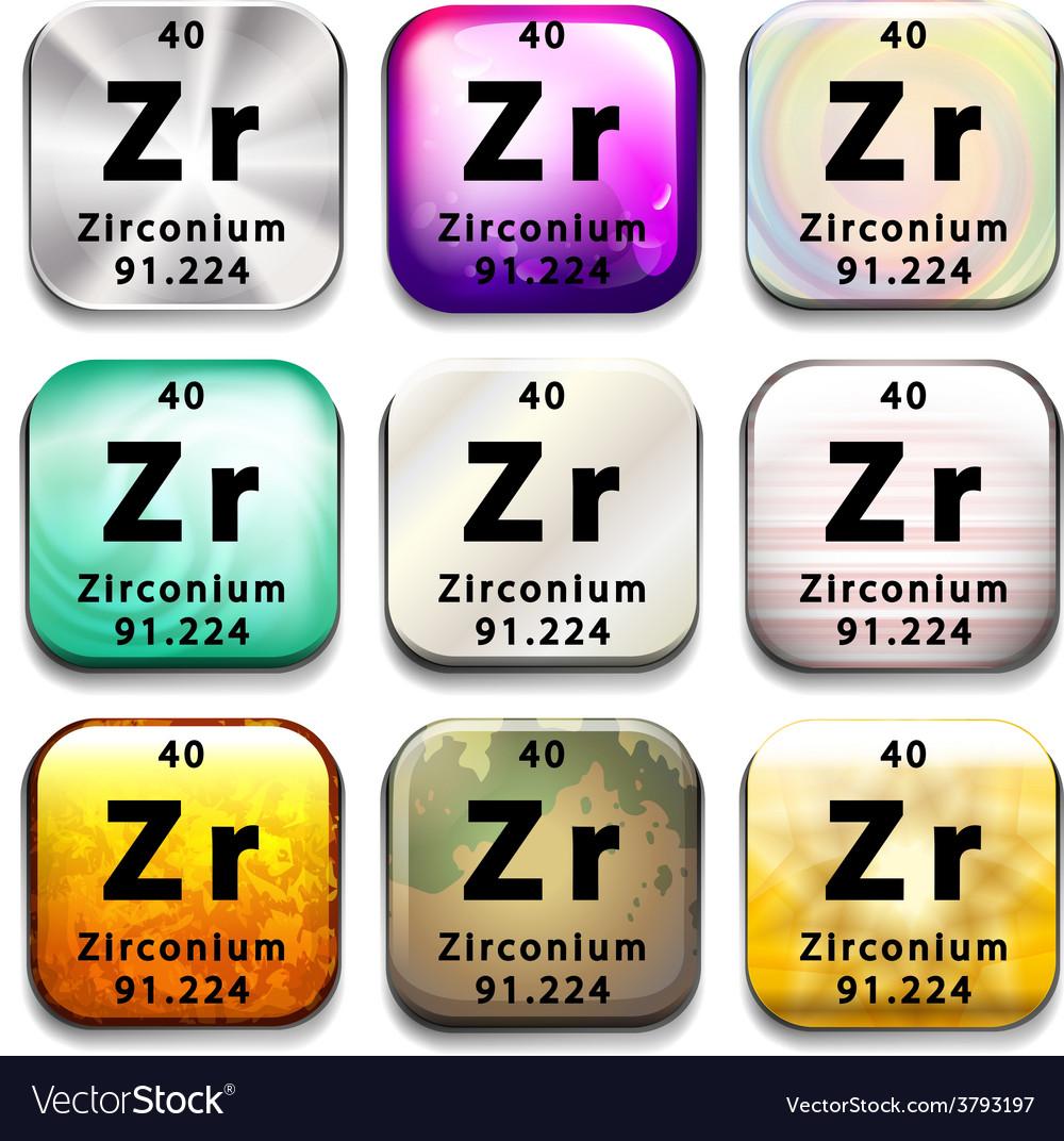 A Zirconium Element Royalty Free Vector Image Vectorstock