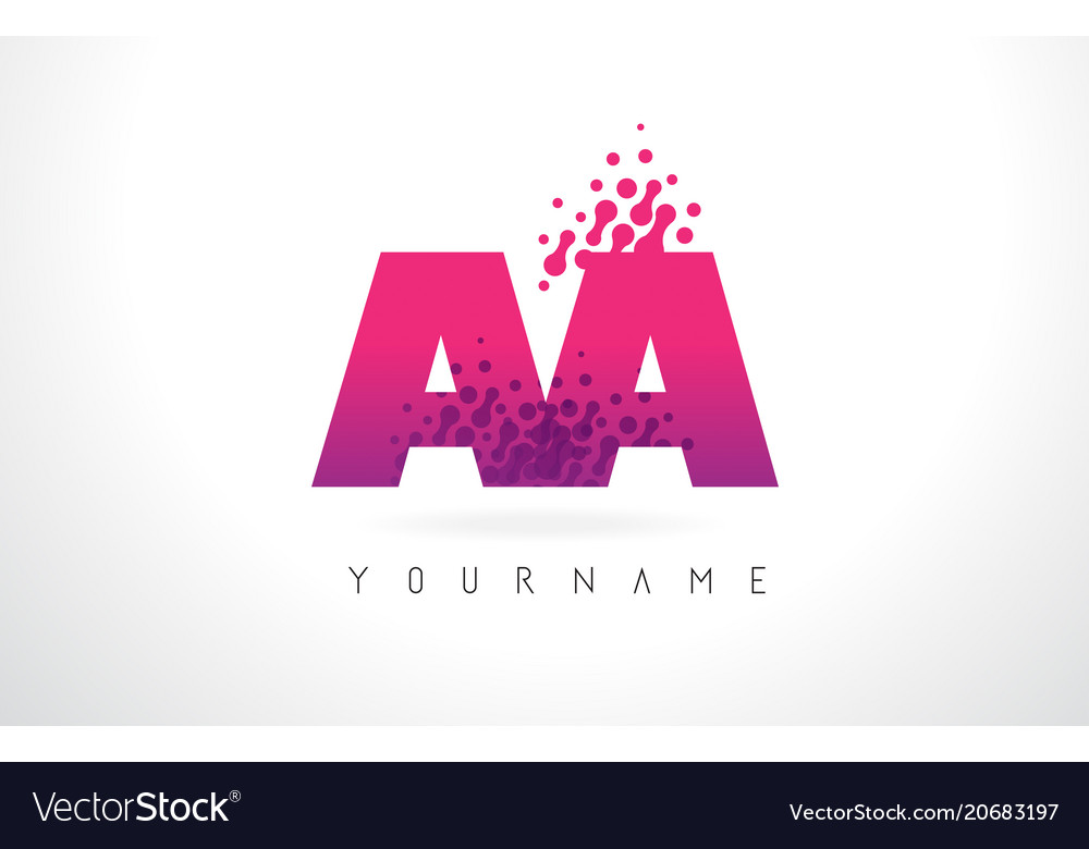 Aa A Letter Logo With Pink Purple Color And