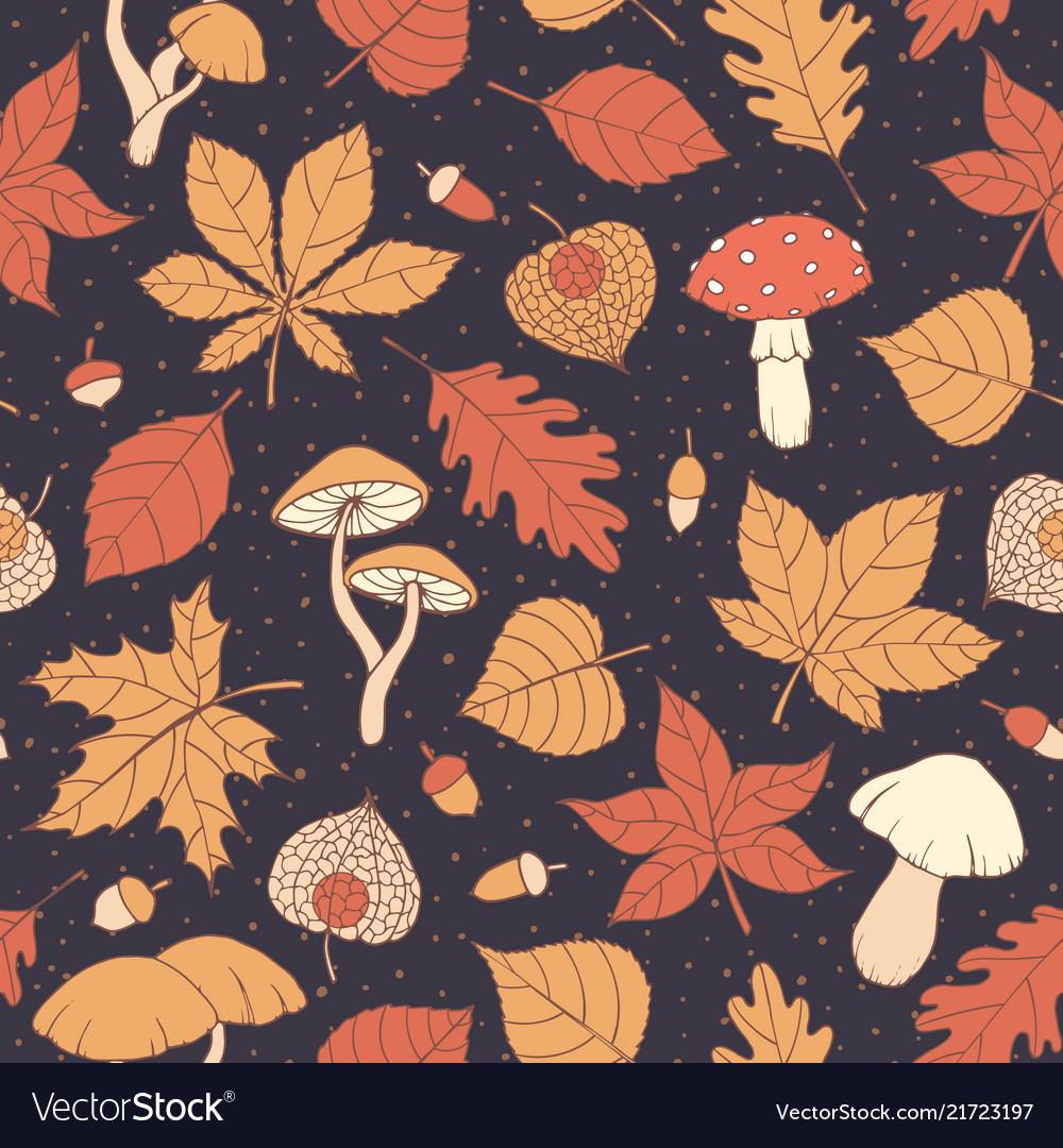 Autumn pattern with oak maple leaves mushrooms