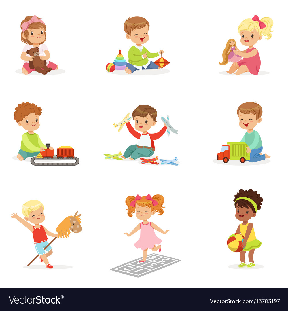Cute children playing with different toys and