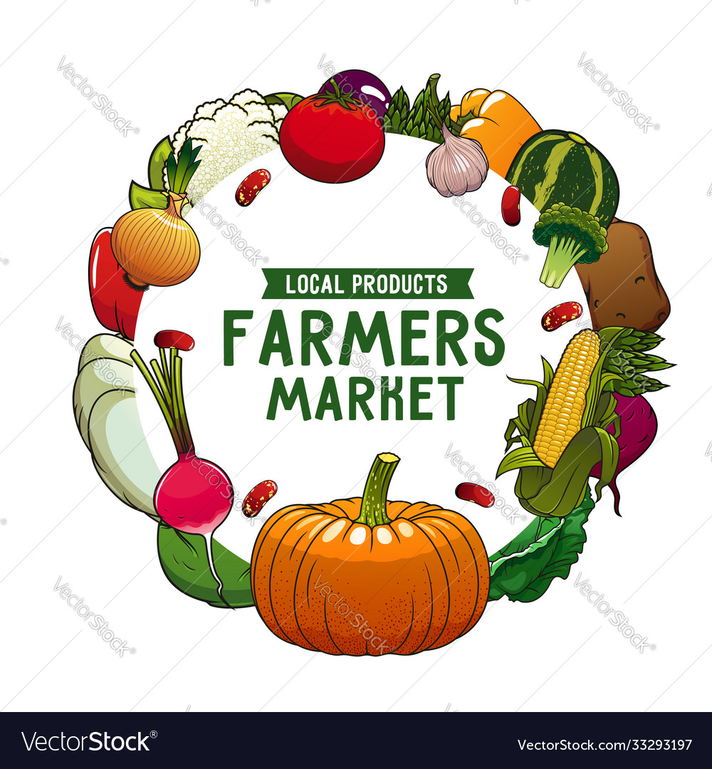 Farm vegetable isolated veggies round frame