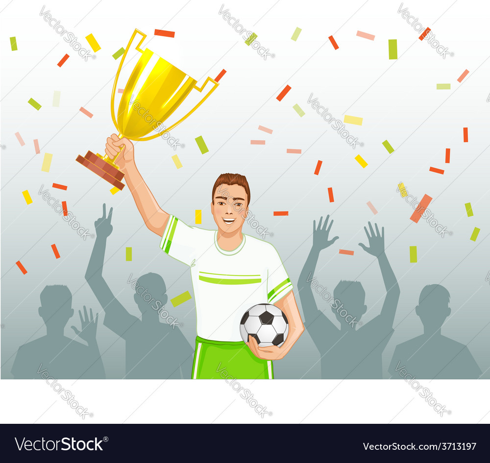 Footballer with winner cup vector image