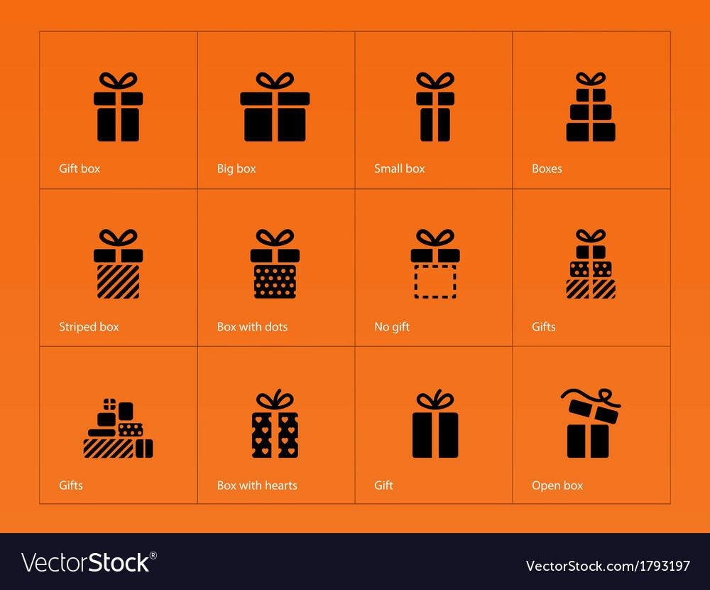 Gift icons on orange background vector image